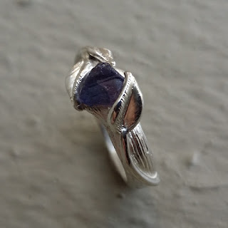 Raw Uncut Purple Sapphire Leaf Twig Engagement, wedding ring, gold Engagement Ring, Purple engagement ring, Dawn Vertrees