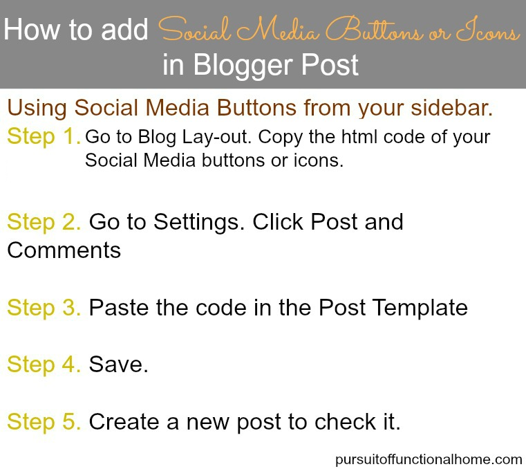 How to Add Social Media Buttons & Icons in Blogger Post – Pursuit of ...