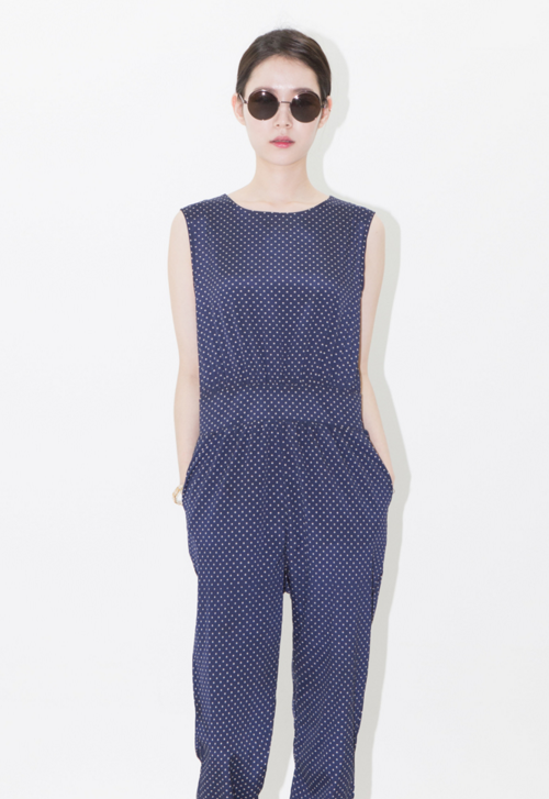 Dotted Sleeveless Jumpsuit