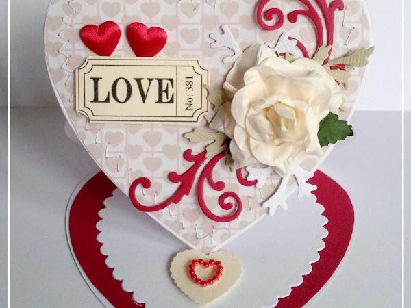 Heart shaped easel card / Sztalugowa - serce