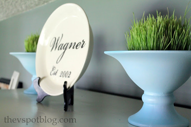 wheat grass, easy, urns, houseplant, decor, springtime, white plate