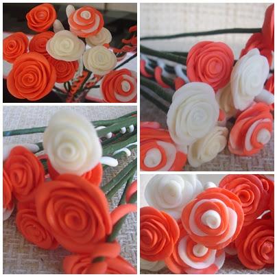 Flores em biscuit, branca e vermelha