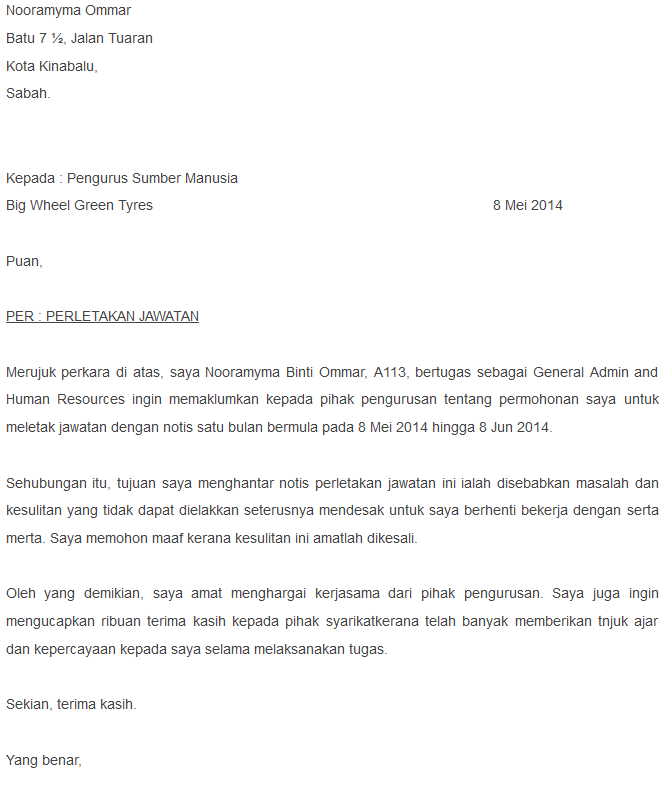 Resignation Letter In Bahasa Malaysia Cover Letter Templates
