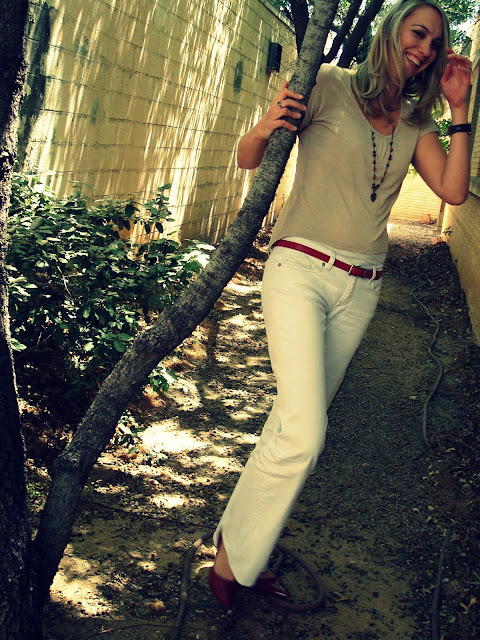 white jeans and tan sweater