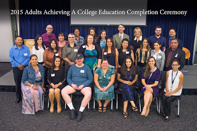photo of students and staff at completion ceremony.
