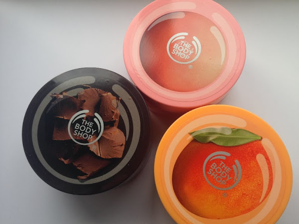 The Body Shop Mango, Pink Grapefruit & Chocomania Body Scrubs.