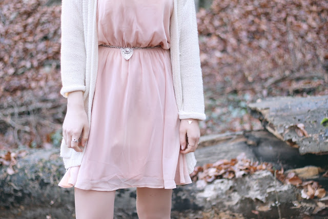 rose dress white cardigan outfit