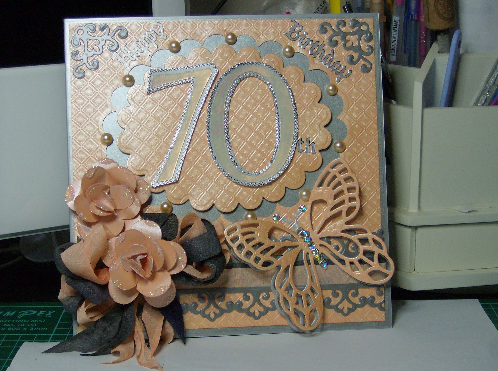 CARDSARUS 70th BIRTHDAY CARD AND BOX – Handmade 70th Birthday Cards