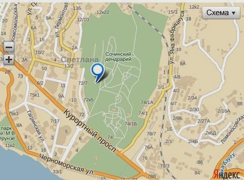 Парк Дендрарий в Сочи, карта