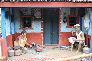 Wax Statutes showing Village Life in India