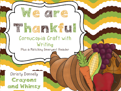 Thankful Cornucopia Kindergarten Thanksgiving Craft Crayons and Whimsy