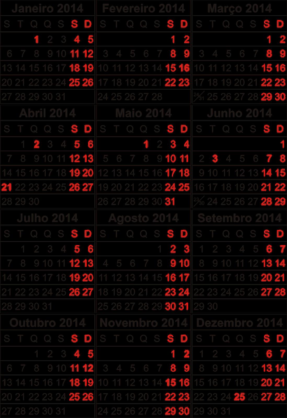 Calendario 2014 Imprimir Imprimir Calendário 2014
