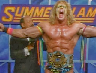 WWF / WWE - SUMMERSLAM 1990: World Wrestling Federation Champion Ultimate Warrior defended the title against Ravishing Rick Rude inside a steel cage