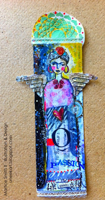 Whimsical Bookmarks, Frida bookmark; tutorial by artist Martice Smith II