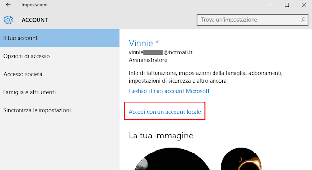 Windows 10 Accedi con un account locale