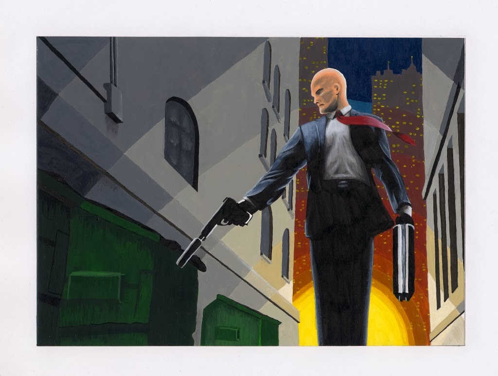 Acrylic painting of Agent 47
