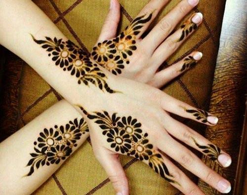 Hand Mehndi Latest Designs : Beautiful stylish glitter bridal back hands mehndi designs 2016