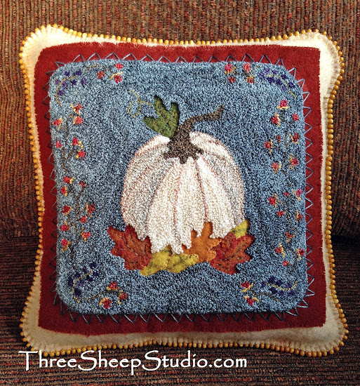 Indian Summer Punch Needle Pattern by Rose Clay at ThreeSheepStudio.com