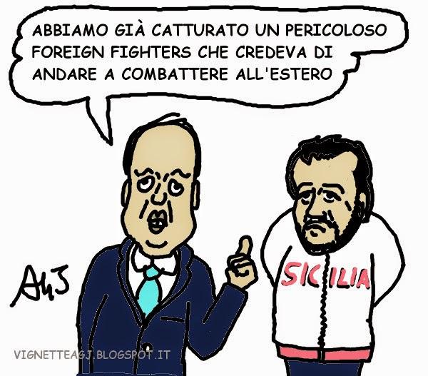 Alfano, Salvini, terrorismo, satira , vignetta