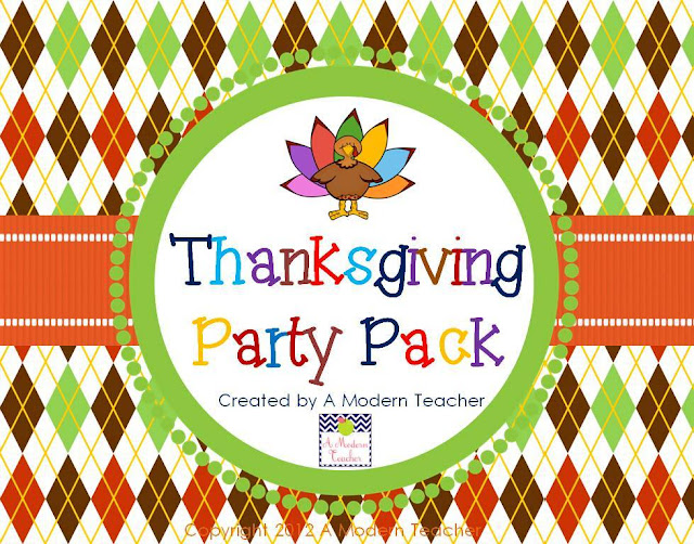 Thanksgiving Party Pack from A Modern Teacher