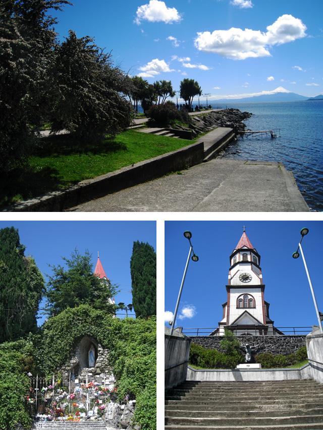 Lago Llanquihue, Gruta de Lourdes e iglesia del Sagrado Corazón de Jesús, en Puerto Varas