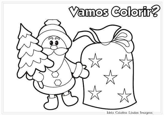 Papai Noel Natal desenho para colorir