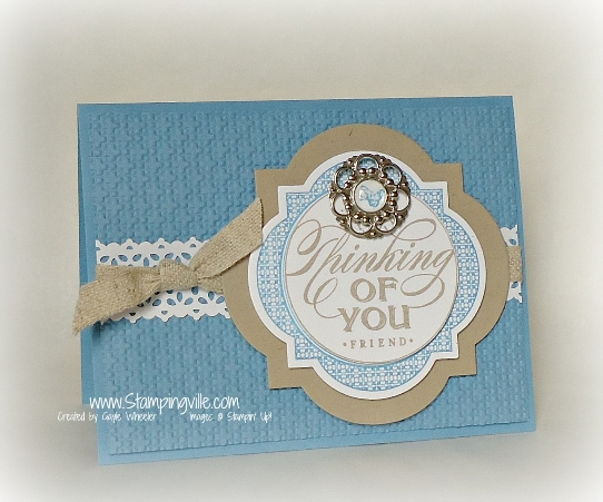 Stampin' Up! Just Thinking wood-mount stamp card idea