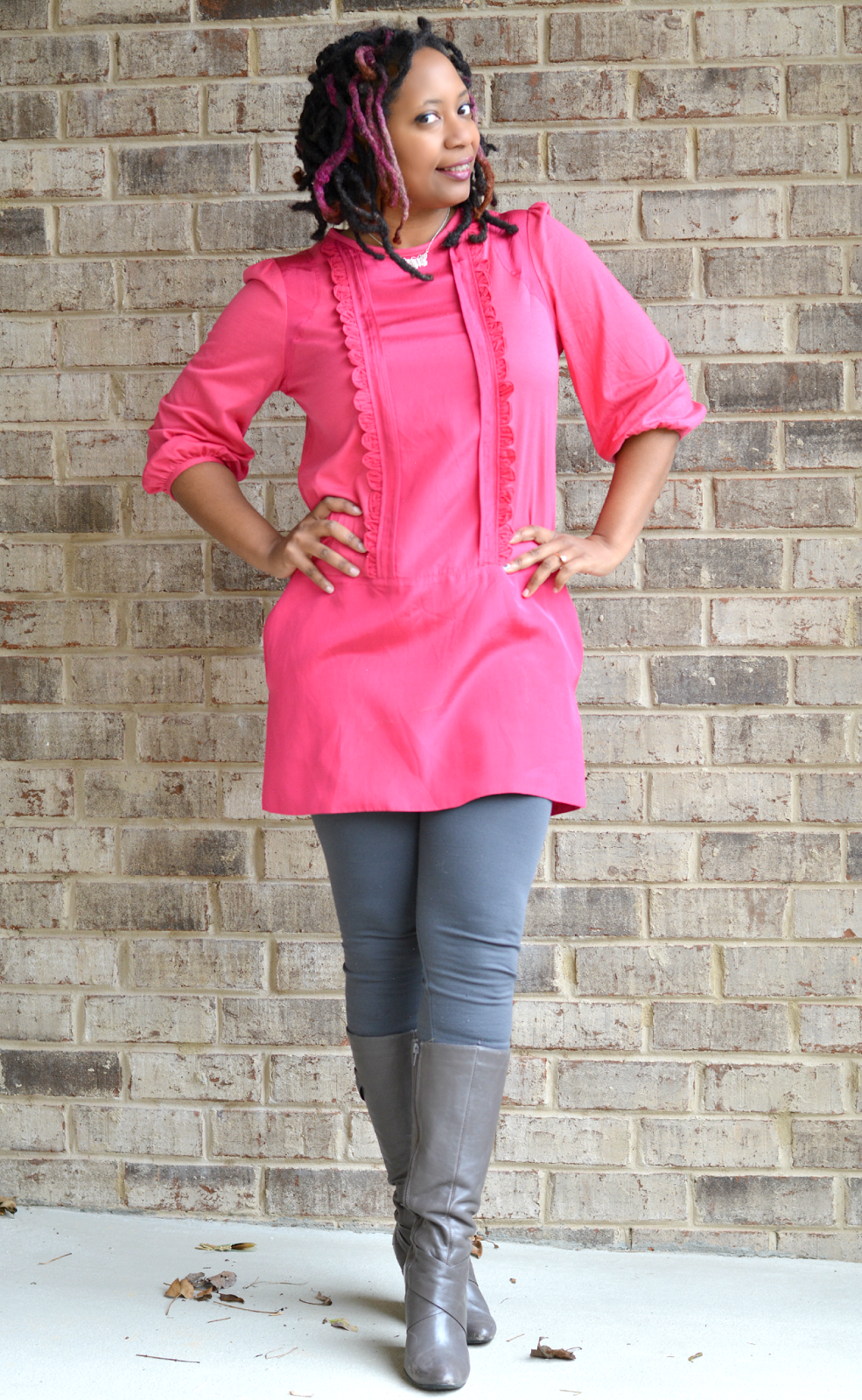shift dress with leggings