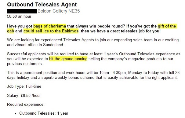 Outbound telesales agent job advert with cliches
