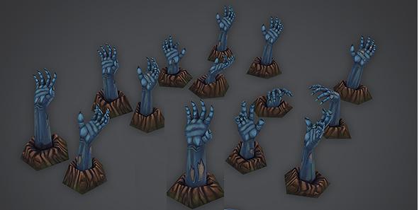 free zombie hand set 3d