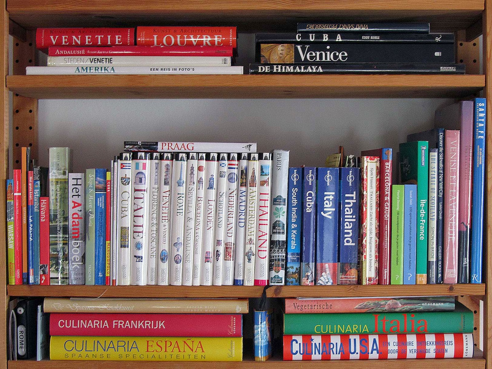 shelf with travel books