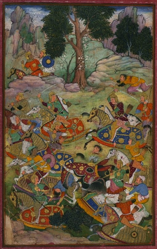 Islamic battle in Hindustan in manuscript painting