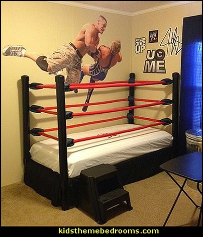 wrestling theme bedroom decor and wrestling theme decorating ideas - Sports Bedroom Decorating Ideas