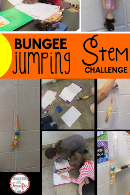 STEM Challenge:Can you find the exact number of bungee cords Barbie needs to have a safe jump? Experiment and find out- then design the perfect device!
