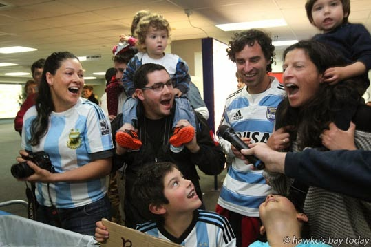 An Argentine chant to welcome the Argentine rugby team, Argentina Los Pumas, at Hawke's Bay Airport, Napier, ready for the test against the All Blacks at McLean Park on Saturday. photograph