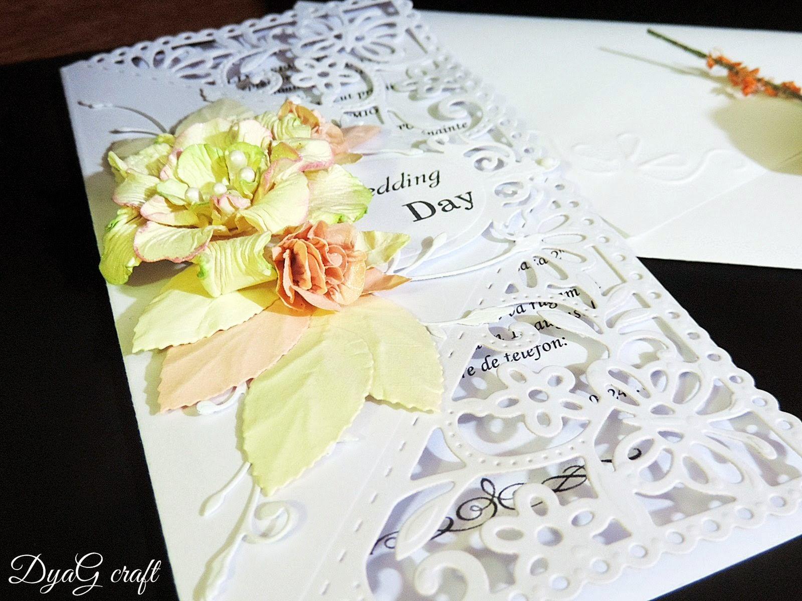 invitatie nunta ivoire alba salmon