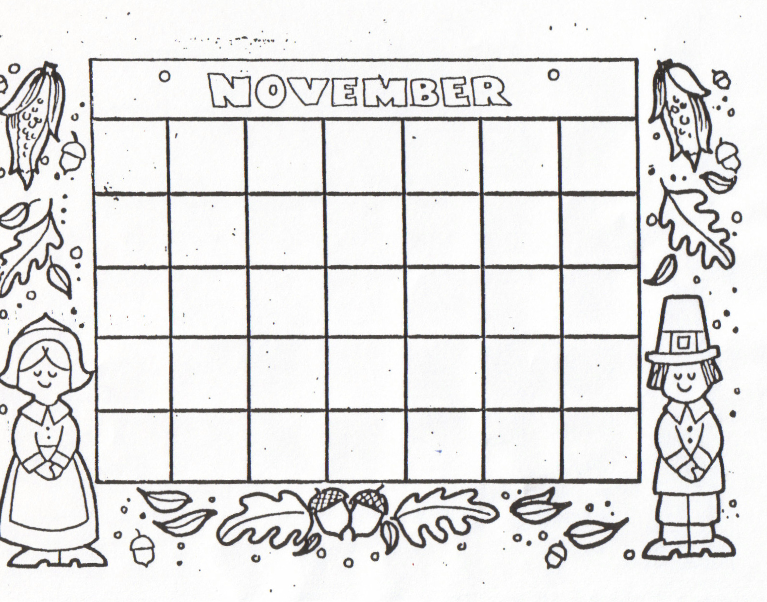 Blank November Calendar For Kids : Kat s almost purrfect home free blank calendars to color
