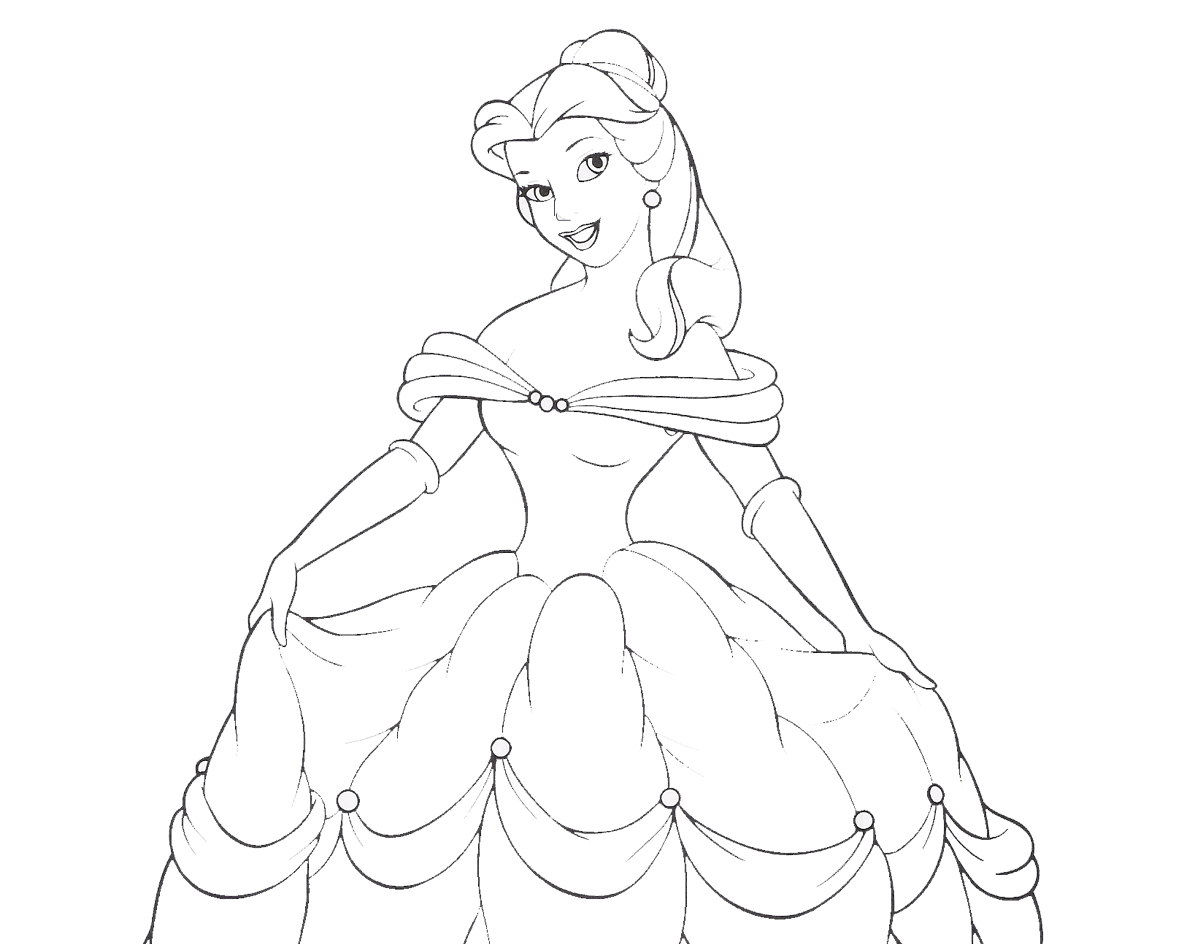 Disney Princess Belle Coloring Pages To Kids Princess Coloring Pictures