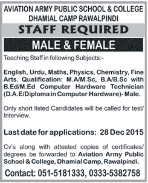 Teachers Jobs in Aviation Army School & College Rawalpindi