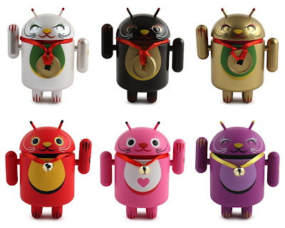 Lucky Cat Android Mini Figure Series by Shane Jessup - White, Black, Gold, Red, Pink & Purple Lucky Cat Vinyl Figures