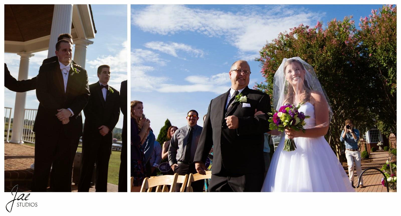Jonathan and Julie, Bird cage, West Manor Estate, Wedding, Lynchburg, Virginia, Jae Studios, sky, wedding dress, tuxedo, flowers, bouquet, boutonniere, bow tie, waiting, father, groomsmen