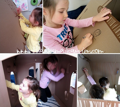 decorating cardboard playhouse