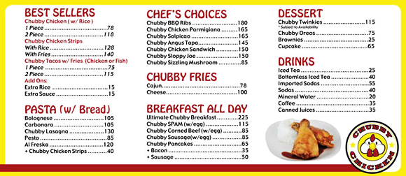 Foodie from the Metro - Chubby Chicken Katipunan Menu and Prices