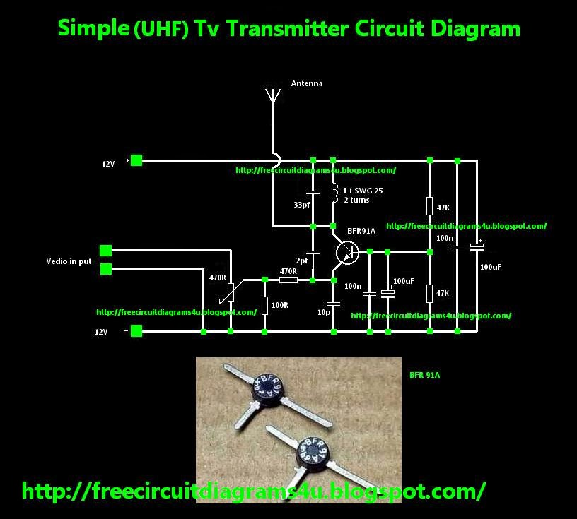 Free Circuit Diagrams 4u  Simple Uhf Tv Transmitter Circuit Diagram
