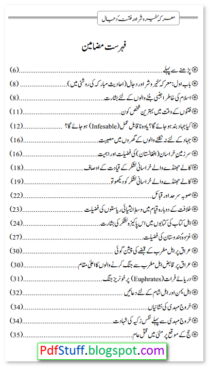 Contents of the Urdu book sample page of the Urdu book Marika Khair o Shar Aur Fitna e Dajjal