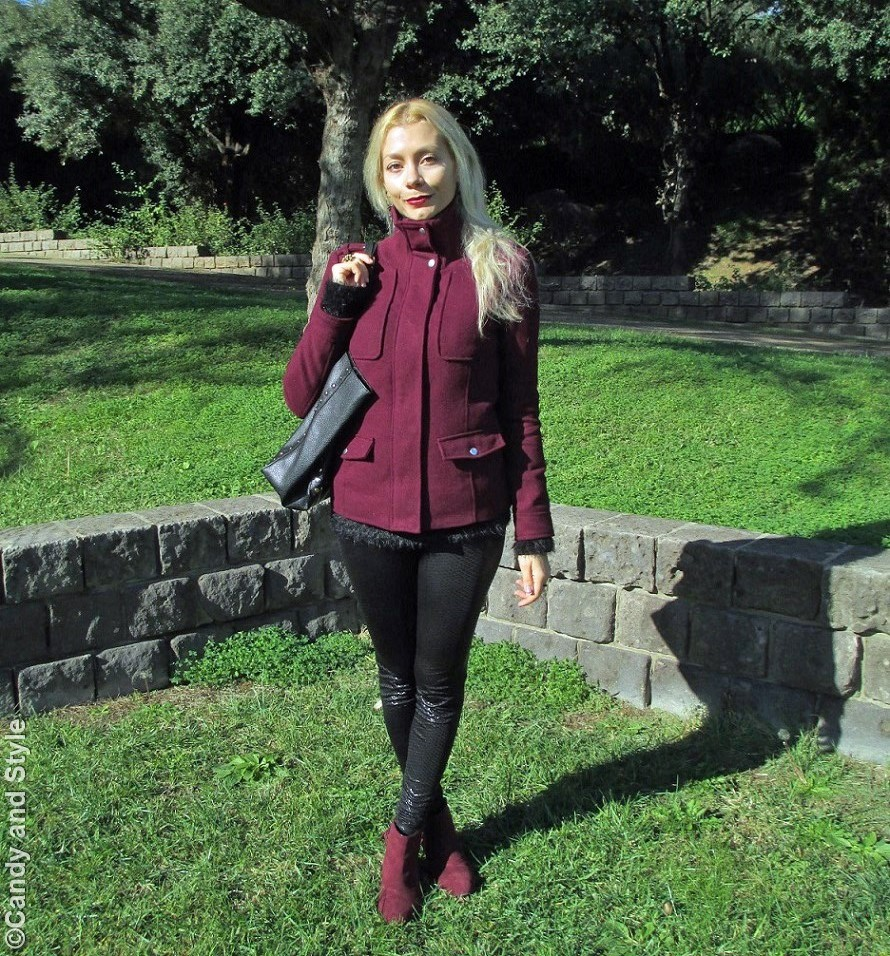 Marsala Jacket and Boots, Fluffy Sweater, Leather Leggings, Studded Shopper Bag - Lilli Candy and Style Fashion Blog