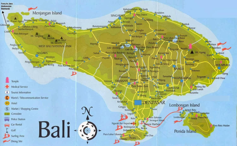 Pulau Bali Map Pulau Bali Indonesia