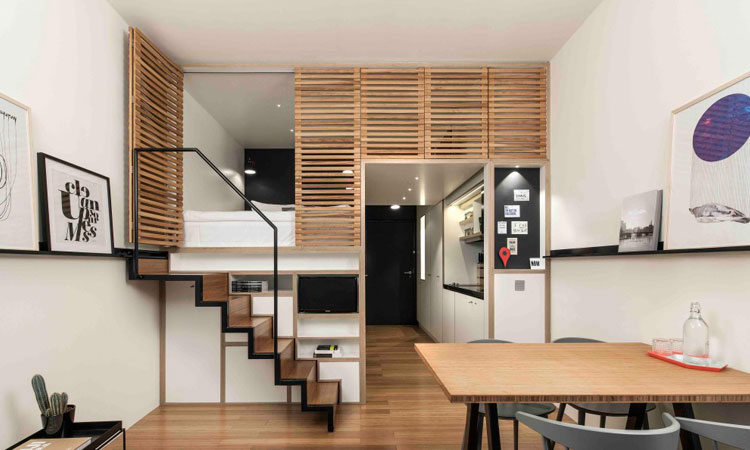 Bata ringan type aac modern small studio apartment design for Modern small studio apartment design