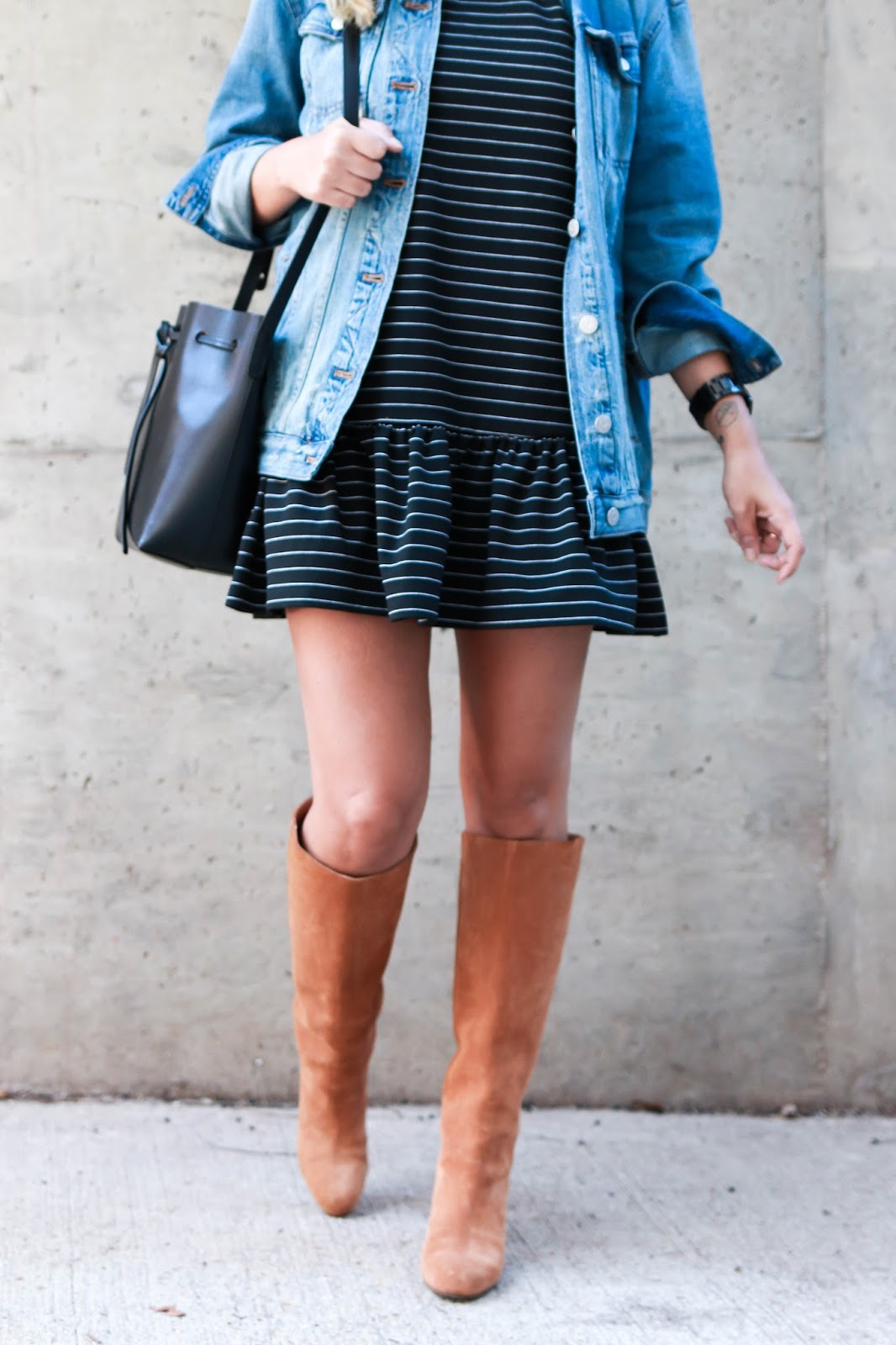 fifth label, dress, madewell, denim, jacket, camel, boots, mansur gavriel bucket bag, style, blog, blogger, dc, fashion