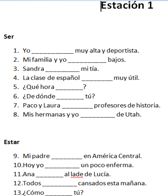 Ser Estar Worksheets - The Best and Most Comprehensive Worksheets